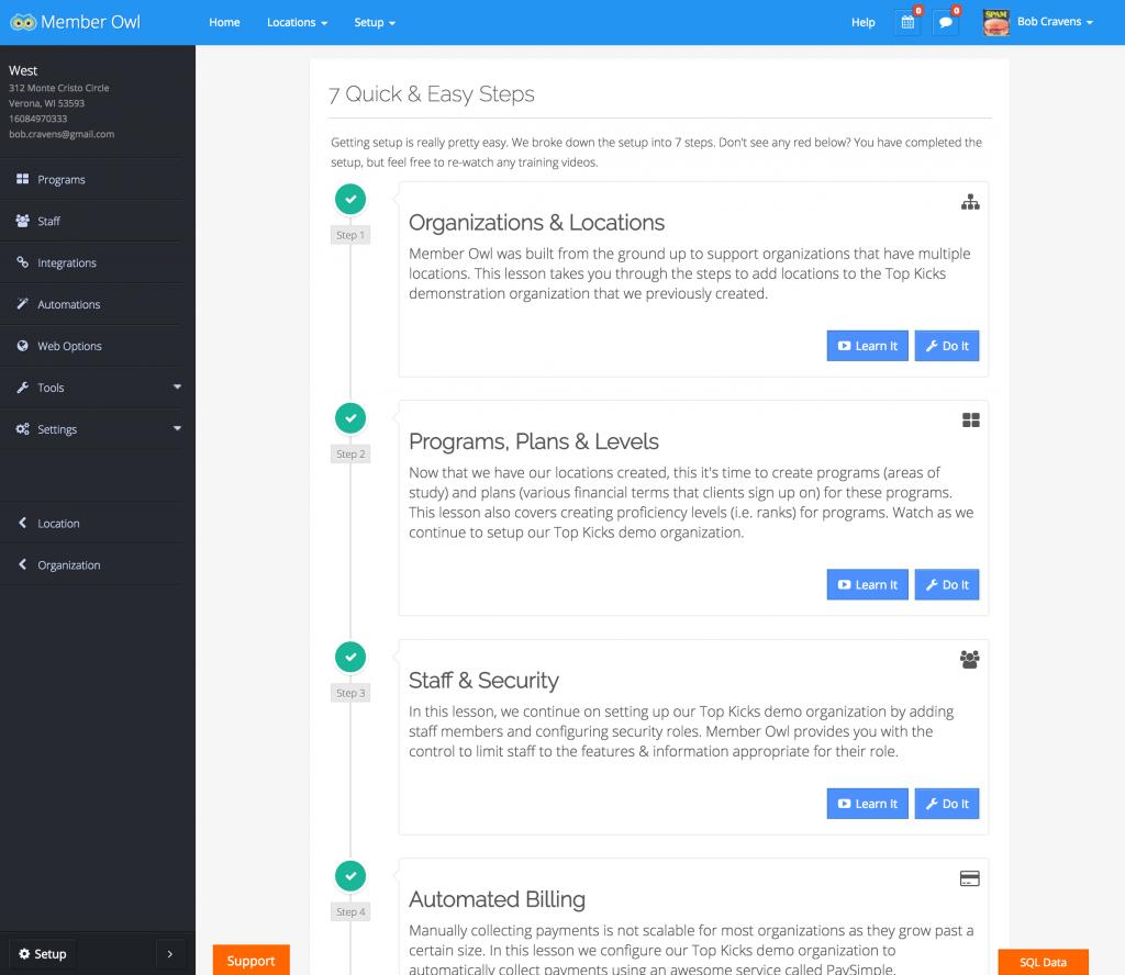 Setup Page